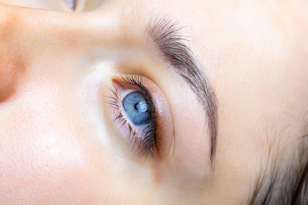 Close-up van het gedane werk getatoeëerde oogleden en wimpers