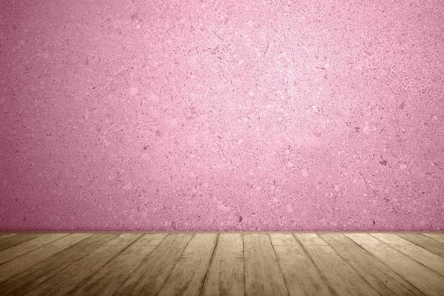 Close-up van houten vloer met roze muur achtergrond
