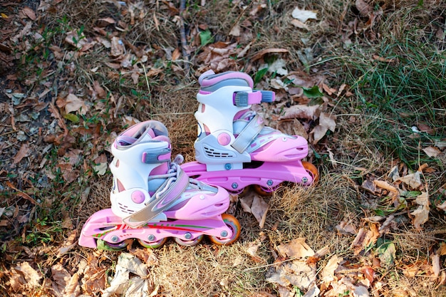 Close-up van inline skate of rollerblade