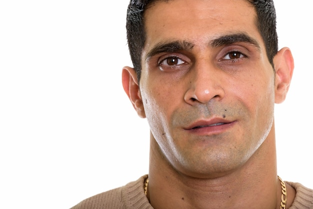 Close up van jonge gespierde perzische man gezicht