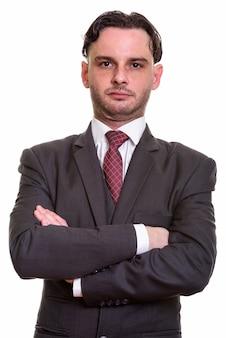 Close up van jonge zakenman met gekruiste armen