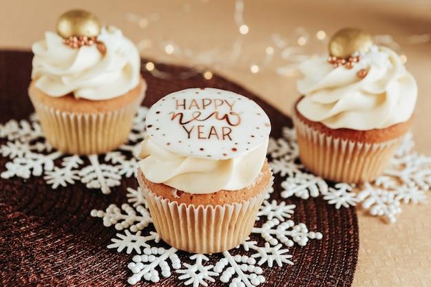 Close-up van kerst cupcakes