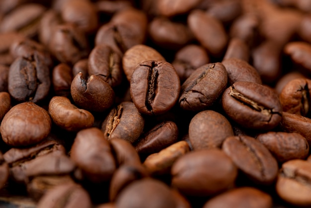 Close-up van koffiebonen concept