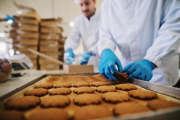 Close up van lade vol met vers gebakken koekjes in voedselfabriek. wazig beeld van twee mannelijke werknemers in steriele kleren die koekjes op achtergrond inpakken.