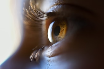 Close-up van mooi meisje bruin oog