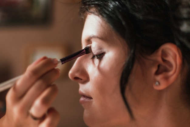 Close-up van mooi vrouwengezicht met make-up