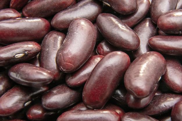 Close-up van nierbonen (rode bonen) achtergrond / veganistisch concept / eiwitdieet