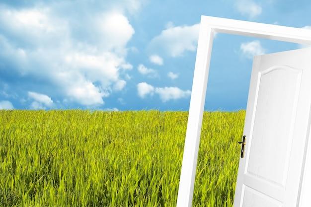 Close-up van open deur met weideachtergrond