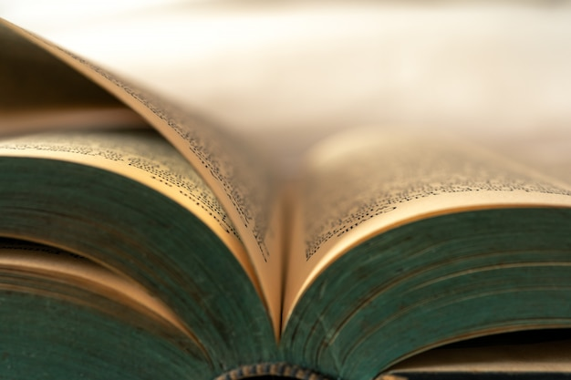 Close-up van oude boeken die momenteel open zijn.