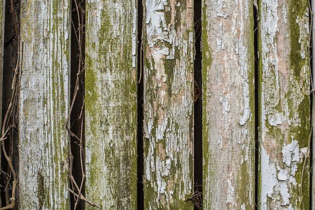 Close up van oude grijze houten hek panelen