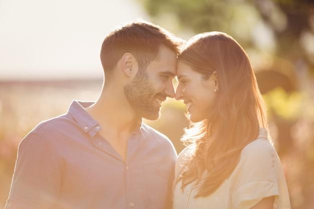 Close-up van paar romancing