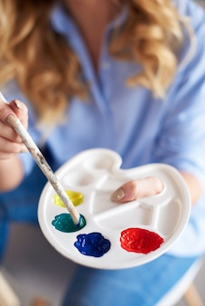 Close up van palet en penseel paint