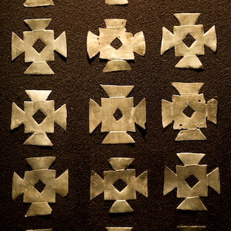 Close-up van patroon op de muur van een museum, museo de arte precolombino, cuzco, peru