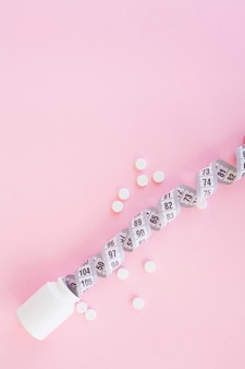 Close up van pillen. voedingssupplementen.