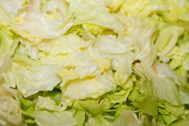 Close-up van rauwe geraspte kool. achtergrond voor het koken. concept van culinaire uitmuntendheid en catering. ruimte kopiëren