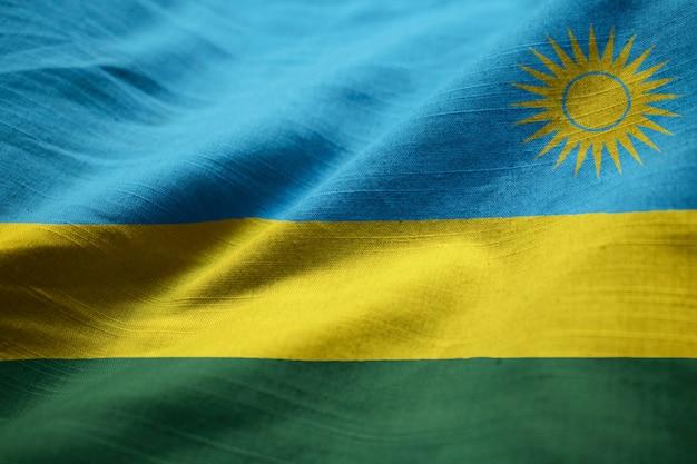 Close-up van ruffled rwanda flag, rwanda flag blowing in wind
