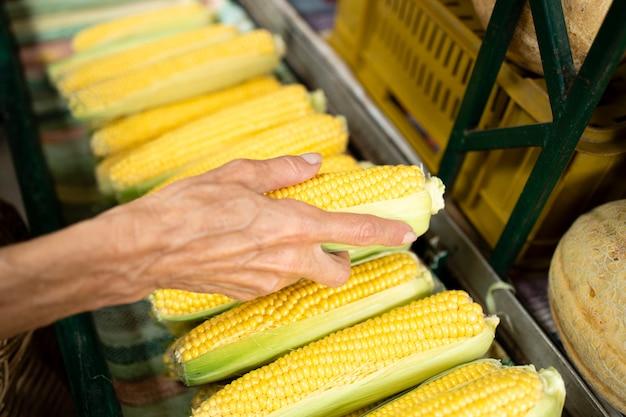 Close-up van senior vrouw hand met suikermaïs bij supermarkt.
