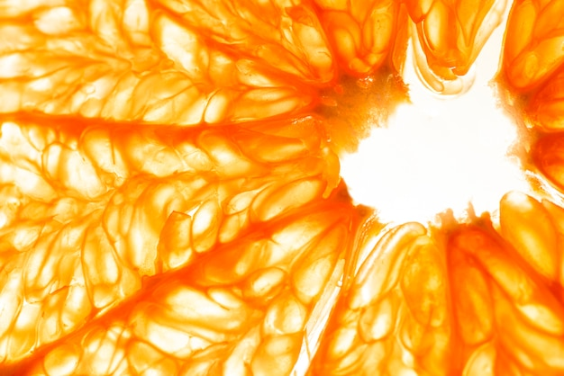 Close-up van sinaasappelpulpplak