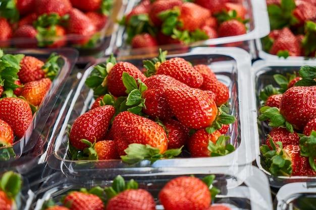 Close-up van smakelijke aardbeien