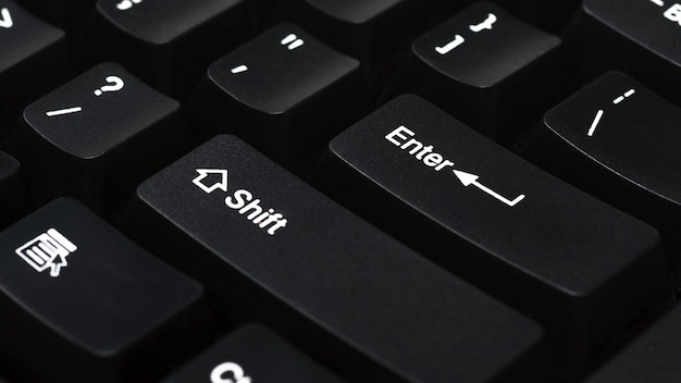 Close up van toetsenbord van zwarte laptopenter