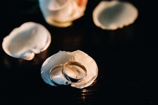 Close-up van twee gouden trouwringen in schelpen op een zwarte achtergrond.trouwring.trouwring.wedding