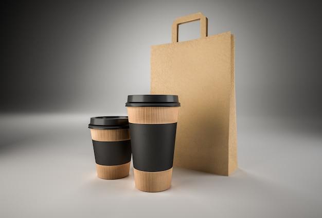 Close-up van twee papieren bekers voor koffie met zwarte etiketten en papieren zak. afbeelding klaar voor ontwerp.
