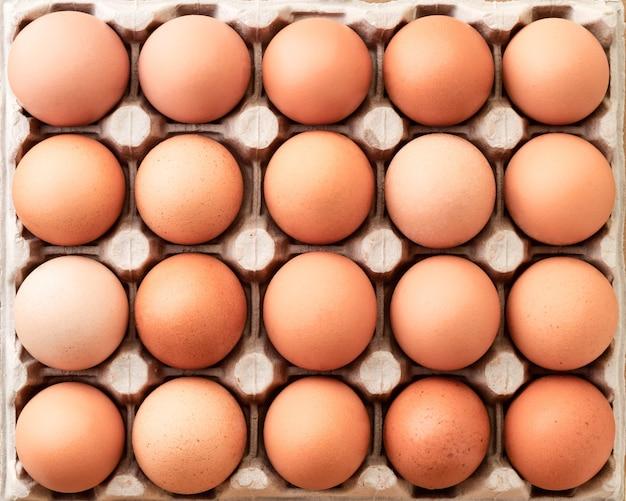 Close-up van vele verse bruine eieren in kartondienblad. achtergrond