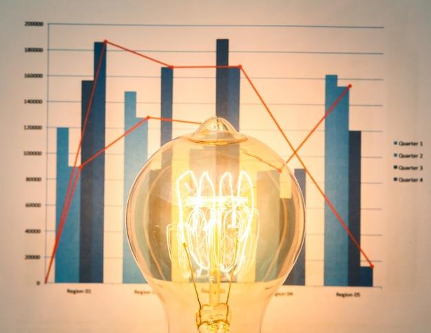 Close-up van verlichte gloeilamp met grafiek achtergrond