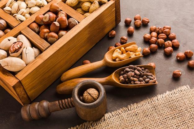 Close-up van verschillende soorten noten