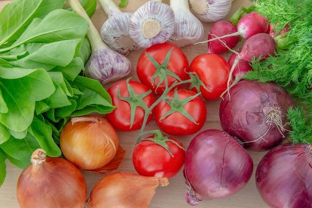 Close-up van verse groenten (tomaten, uien, radijzen, gras, knoflook) bovenaanzicht.