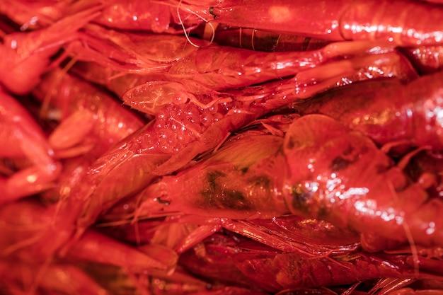 Close-up van verse rode garnalen