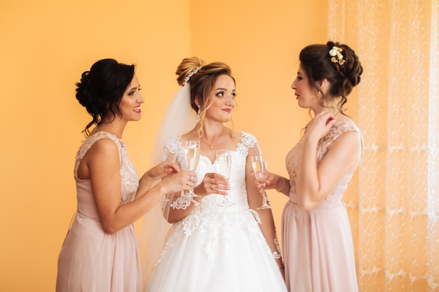 Close-up van vrolijke meisjes die een vrijgezellinpartij vieren