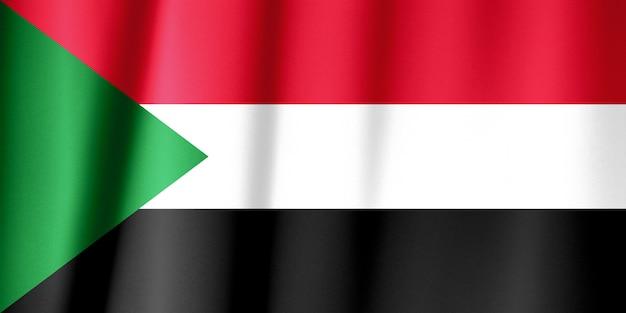 Close-up van zijdeachtige soedanese vlag