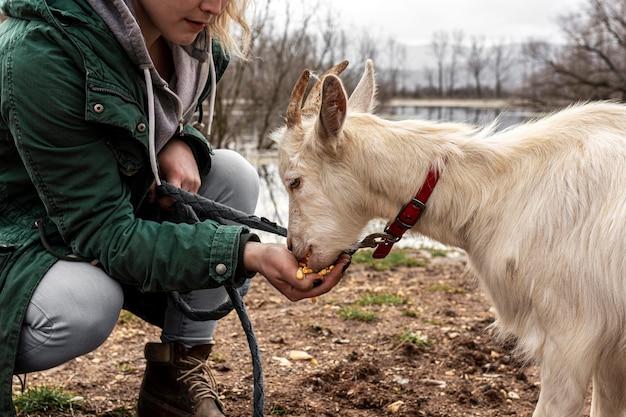 Close-up vrouw en schattige geit buitenshuis