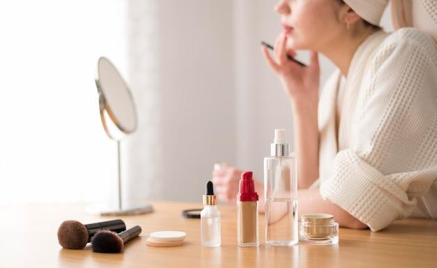 Close-up vrouw lip make-up