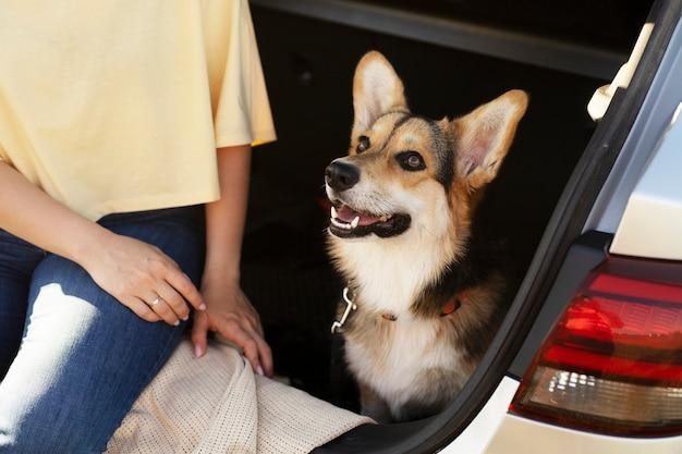 Close-up vrouw met hond