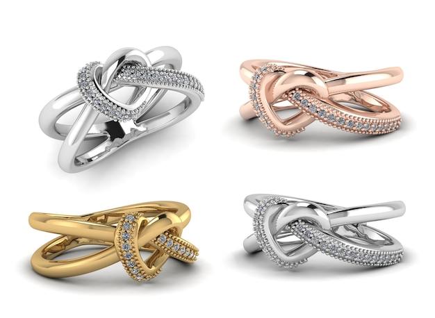 Close-up zilver, goud, rose goud ring met diamanten 3d render geïsoleerd op een witte achtergrond