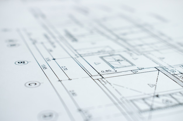 Close-upbeeld met details van bouwplannen.