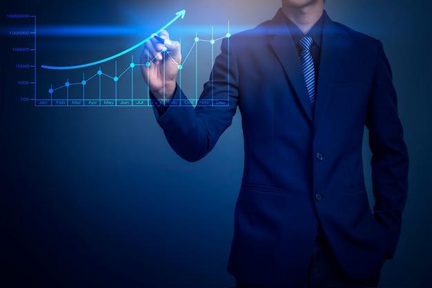 Close-upbeeld van de grafiek van de zakenmantekening, bedrijfsstrategie als concept
