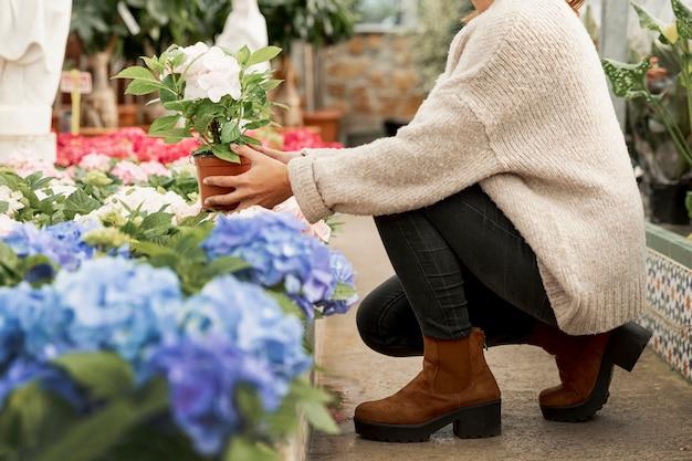 Close-upbloemen die bloempotten schikken