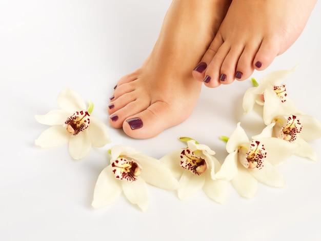 Close-upfoto van een vrouwelijke voeten met mooie pedicure na kuuroordprocedure op wit
