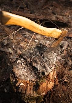 Close-upfoto van ijzeren bijl vast in houtblok