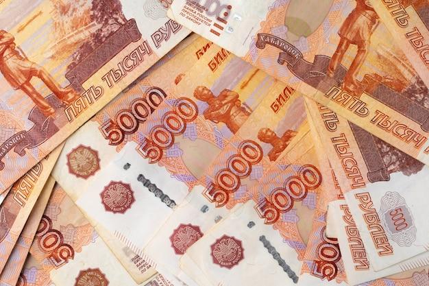 Close-upfoto van russische roebels. financiën en bedrijfsconcept