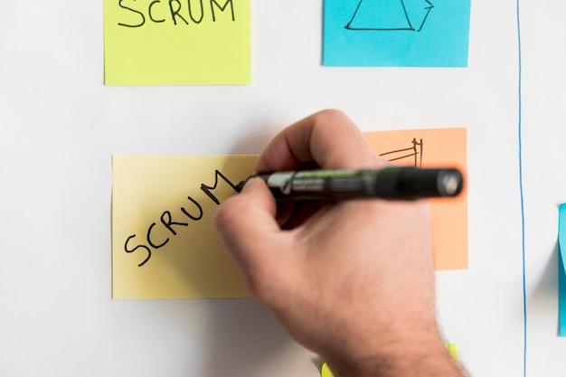 Close-uphand het schrijven businessplan