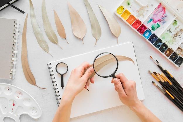 Close-uphand met vergrootglas en blad