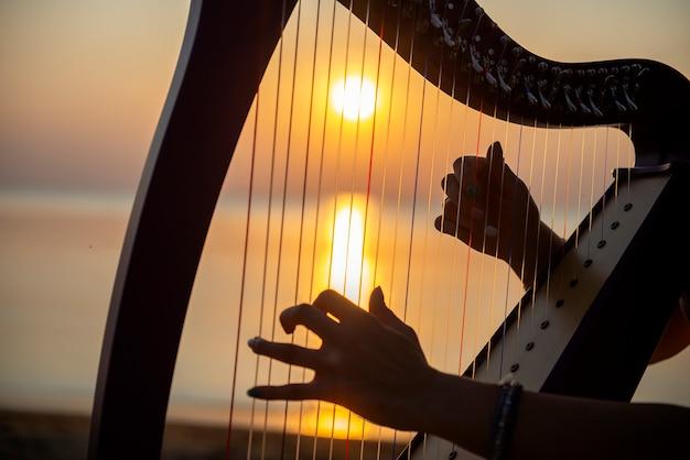 Close-uphanden van meisjesspelen op een keltische harp door het overzees bij zonsondergang