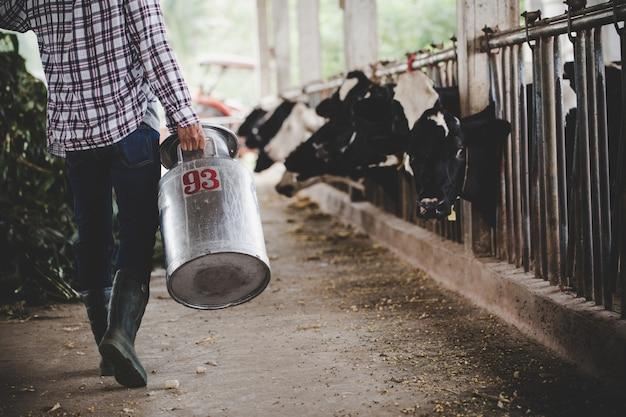 Close-upmening over de benen van landbouwer die met vers gras bij de dierlijke schuur werken