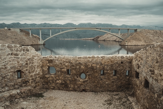Close-upmening over pag-brug van fortica, kroatië