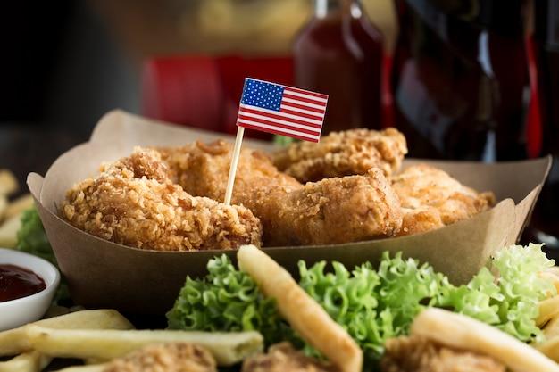 Close-upmening van amerikaans voedsel