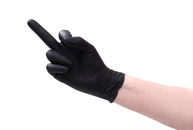 Close-uppalm met vinger in zwarte geïsoleerde latexhandschoen